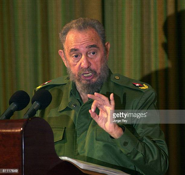 Cuban President Fidel Castro speaks during the island's annual Revolution Day celebration July 26 2004 in Santa Clara Cuba The celebration marks the...
