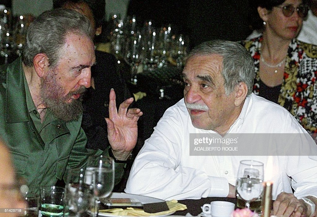 Cuban President <a gi-track='captionPersonalityLinkClicked' href=/galleries/search?phrase=Fidel+Castro&family=editorial&specificpeople=67210 ng-click='$event.stopPropagation()'>Fidel Castro</a> (L) talks with the Colombian Nobel Laureate of Literature, Gabriel Garcia Marquez, during a dinner at the closing of the Cuban Cigars Festival in Havana, Cuba, 04 March 2000. Castro and Marquez witnessed the auction of special boxes for Cuban cigars, which collected a sum of US$ 523,000 to be used to buy medicine for children's hospitals.