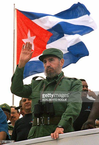 S 80 ANNIVERSARY Cuban President Fidel Castro waves to participants of the traditional May Day parade attended by thousands of people in Havana's...