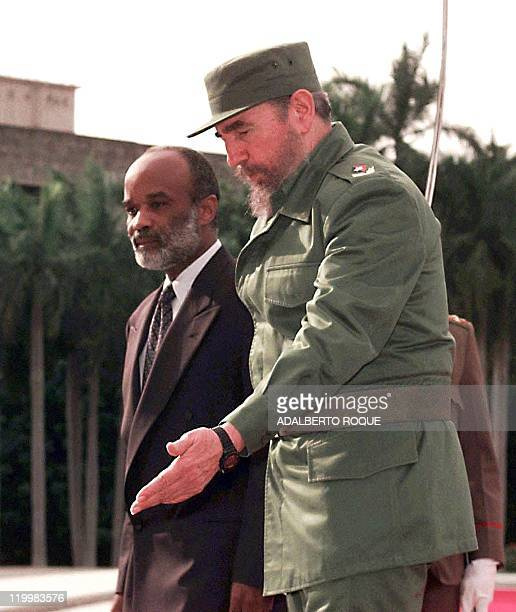Cuban President Fidel Castro welcomes Haitian President Rene Preval to Havana 09 November Preval is in Cuba on an official visit and is the first...