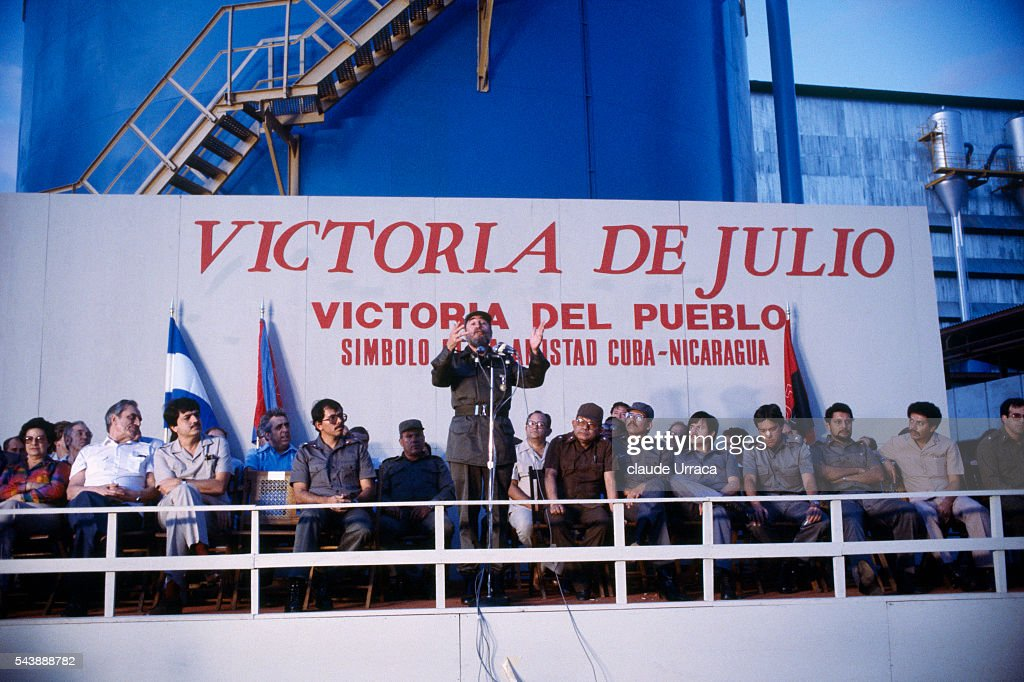 Cuban President Fidel Castro with President of Nicaragua Daniel Ortega during opening of a sugar refinery in the Malacatoya area
