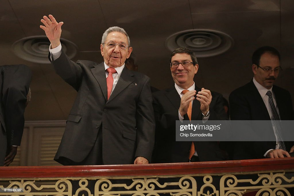 Cuban President Raul Castro acknowledges applause with Minister of Foreign Affairs Bruno Eduardo Rodrguez Parrilla (C) following a speech by U.S. President Barack Obama at the Gran Teatro de la Habana Alicia Alonso in the Old Havana city center March 22, 2016 in Havana, Cuba. Described as a message to the Cuban people about his vision for the future of Cuba, Obama's speech was nationally televised to the 11 million people on the communist-controlled island.