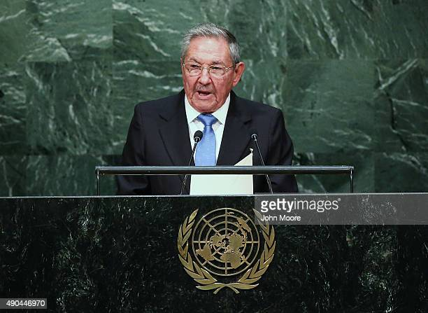 Cuban President Raul Castro addresses the United Nations General Assembly on September 28 2015 in New York City World leaders gathered for the 70th...