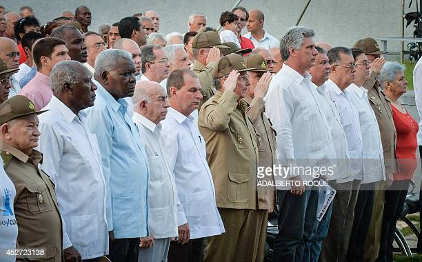 Cuban President Raul Castro among others attends the 61st Anniversary of the Moncada Barracks attack celebrations at the Artemisa Mausoleum monument...