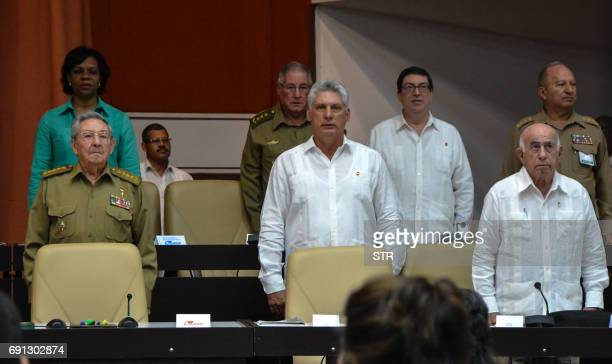 Cuban President Raul Castro and first Vice President Miguel DiazCanel attend a special session of the Cuban parliament in Havana on June 1 to discuss...