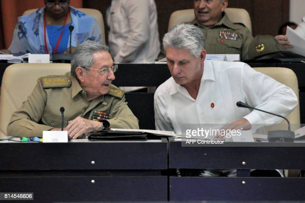 Cuban President Raul Castro and First Vice president Miguel DiazCanel speak during the Permanent Working Committees of the National Assembly of the...