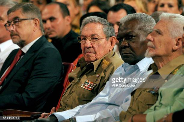 Cuban President Raul Castro and Russian Ambassador to Cuba Mikhail L Kamynin attend the celebations marking the 100th anniversary of the 1917...