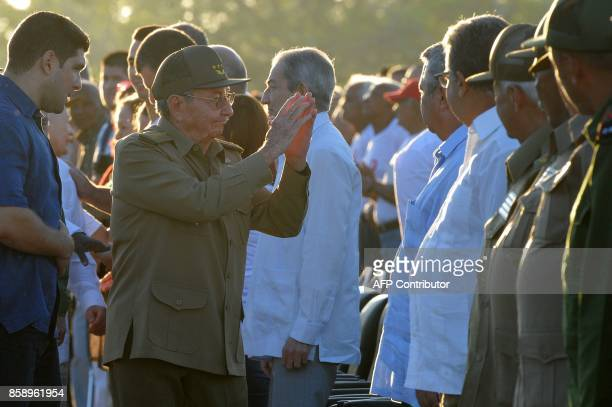 Cuban President Raul Castro arrives to the commemoration of the 50th anniversary of Che's death at the Che Guevara Memorial in Santa Clara Cuba on...