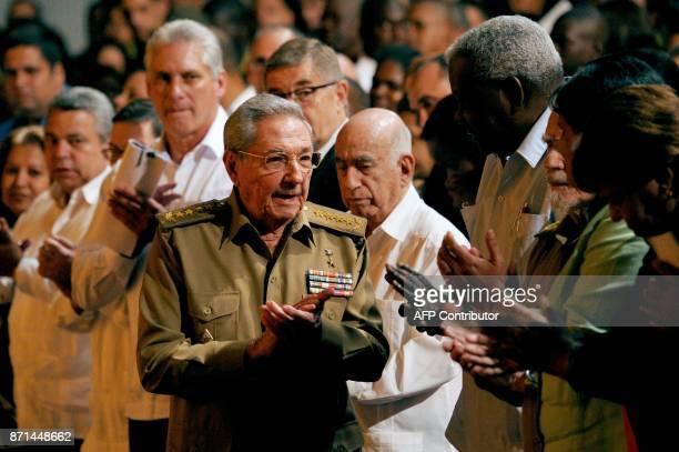 Cuban President Raul Castro attends the celebations marking the 100th anniversary of the 1917 Bolshevik Revolution in Havana on November 7 2017 / AFP...