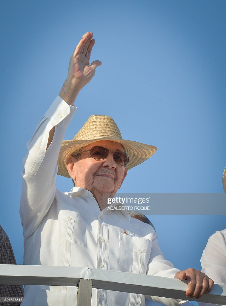 Cuban President Raul Castro attends the May Day parade at Revolution Square in Havana, on May 1, 2016. / AFP / ADALBERTO