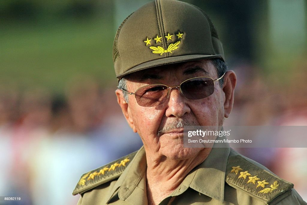 Cuban President <a gi-track='captionPersonalityLinkClicked' href=/galleries/search?phrase=Raul+Castro&family=editorial&specificpeople=239452 ng-click='$event.stopPropagation()'>Raul Castro</a>, brother of Cuban Revolution leader <a gi-track='captionPersonalityLinkClicked' href=/galleries/search?phrase=Fidel+Castro&family=editorial&specificpeople=67210 ng-click='$event.stopPropagation()'>Fidel Castro</a>, prepares to deliver his speech, commemorating the 56th anniversary of <a gi-track='captionPersonalityLinkClicked' href=/galleries/search?phrase=Fidel+Castro&family=editorial&specificpeople=67210 ng-click='$event.stopPropagation()'>Fidel Castro</a>'s attack on the Moncada Barracks, on July 26, 2009 in Holguin, Cuba. <a gi-track='captionPersonalityLinkClicked' href=/galleries/search?phrase=Fidel+Castro&family=editorial&specificpeople=67210 ng-click='$event.stopPropagation()'>Fidel Castro</a> organized a group of rebels, including <a gi-track='captionPersonalityLinkClicked' href=/galleries/search?phrase=Raul+Castro&family=editorial&specificpeople=239452 ng-click='$event.stopPropagation()'>Raul Castro</a>, for an attack on the Moncada Barracks in Santiago de Cuba in 1953 in a first but failed attempt to overthrow the dictatorship of Fulgencio Batista.