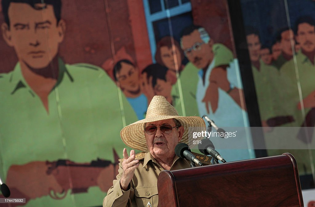 Cuban President Raul Castro gives a speech on July 26, 2013, during celebrations of the 60th Anniversary of Moncada barrack attack in Santiago de Cuba. Cuba on Friday launched 60th anniversary celebrations of ex-leader Fidel Castro's Moncada Barracks assault -- widely seen as the start to the country's communist revolution. The events, led by current President Raul Castro, kicked off in the courtyard of the former Moncada Garrison, where in 1953, a young Fidel Castro and more than 100 rebels attempted to overthrow the dictator Fulgencio Batista. The bid was unsuccessful, but Castro eventually toppled Batista in 1959, launching the Americas' only communist regime, which he ruled for five decades before stepping aside for health reasons in favor of his brother. AFP PHOTO/str
