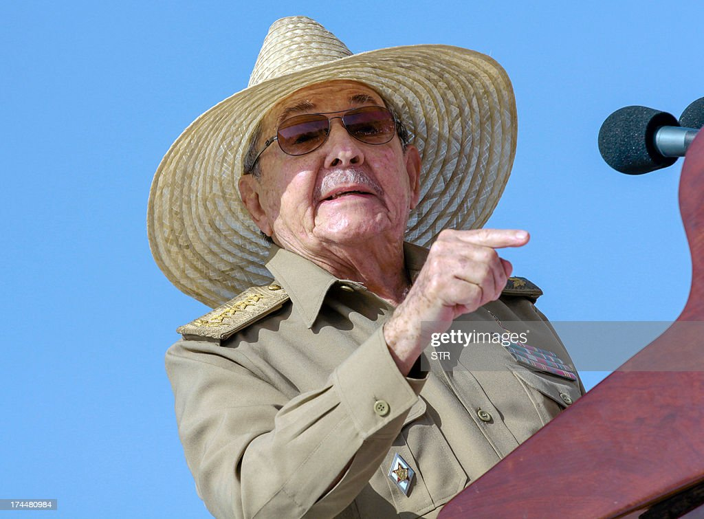 Cuban President Raul Castro gives a speech on July 26, 2013, during celebrations of the 60th Anniversary of Moncada barrack attack in Santiago de Cuba. Cuba on Friday launched 60th anniversary celebrations of ex-leader Fidel Castro's Moncada Barracks assault -- widely seen as the start to the country's communist revolution. The events, led by current President Raul Castro, kicked off in the courtyard of the former Moncada Garrison, where in 1953, a young Fidel Castro and more than 100 rebels attempted to overthrow the dictator Fulgencio Batista. The bid was unsuccessful, but Castro eventually toppled Batista in 1959, launching the Americas' only communist regime, which he ruled for five decades before stepping aside for health reasons in favor of his brother.