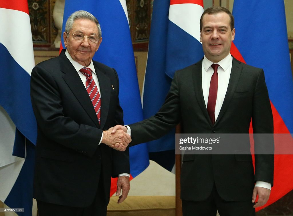 Cuban President Raul Castro (L) shakes hands with Russian Prime Minister Dmitry Medvedev (R) during their meeting on May 6, 2015 in Moscow, Russia . Castro is having a three-day visit in Moscow to meet with Russian leadership and attend the Red Square parade on May 9th to commemorate 70 years since the end of WWII.