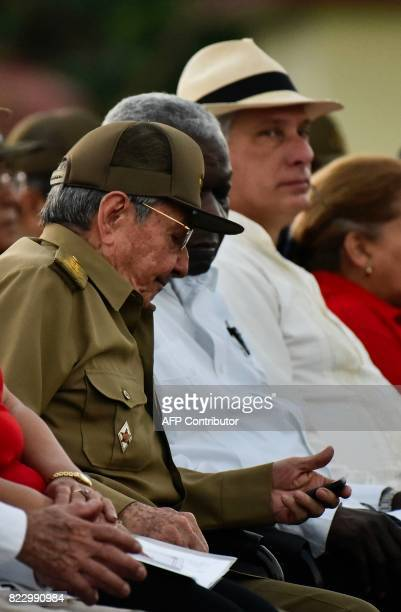 Cuban president Raul Castro the President of the Cuban National Assembly and Parliament Esteban Lazo and Cuban First Vice President Miguel DiazCanel...