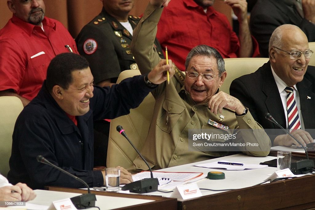 Cuban President Raul Castro (C) Venezuelan President Hugo Chavez (L) and Ricardo Cabrisas (R), Minister of the Cuban Government, share a laugh at a meeting to celebrate the 10th anniversary of the cooperation treaty between the two countries on November 08, 2010 in Havana, Cuba. Fidel Castro, leader of the Cuban Revolution, was not present at the meeting.