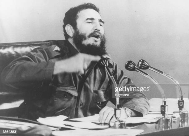 Cuban prime minister Fidel Castro speaking at a press conference