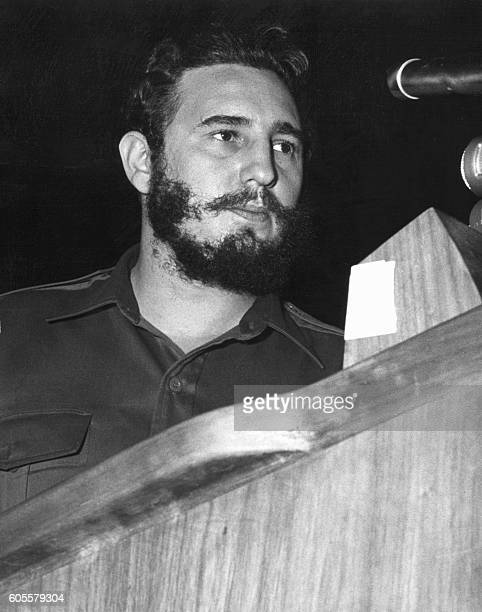 Cuban Prime Secretary of the Cuban Communist party and President of the State Council Fidel Castro addresses delegates of the General Assembly of the...