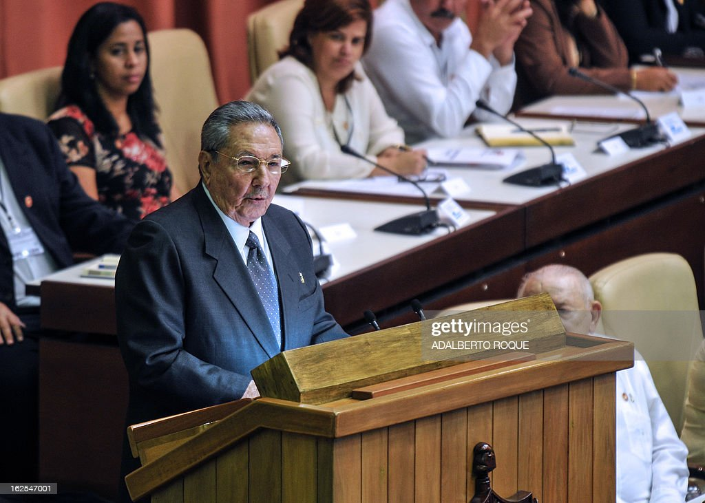 Cuban reelected President Raul Castro (L) delivers a speech during the new National Assembly meeting to choose a Council of State, at the Conventions Palace in Havana on February 24, 2013. Cuba's new National Assembly reelected Castro for another five years as President of the communist country. Raul Castro became interim President in 2006 and then formally became president.