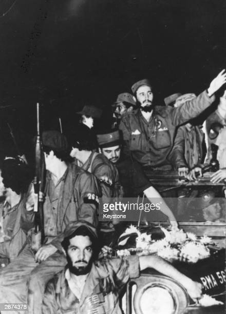 Cuban revolutionary leader Fidel Castro with soldiers of the Rebel Army en route for Havana He became prime minister in February 1959