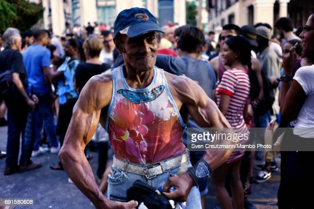 Cuban shows his muscles after the end of a concert in tribute to the Beatles on occasion of the 50th anniversary of the Sgt Peppers Lonely Hearts...