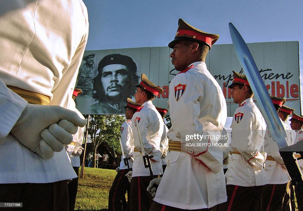 Cuban soldiers take part in the official ceremony to commemorate the 40th anniversary of the death of revolutionary leader Ernesto 'Che' Guevara on October 8th, 2007 in the Cuban eastern village of Santa Clara. For decades a global symbol of rebellion, Ernesto 'Che' Guevara is to be honored today with ceremonies in Cuba, where his myth was forged, and Bolivia, where he was executed 40 years ago spreading the gospel of Marxist revolution.