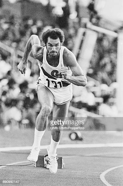 Cuban track athlete Alberto Juantorena competes for Cuba to finish in 4th place in the Men's 400 metres event at the 1980 Summer Olympics inside the...