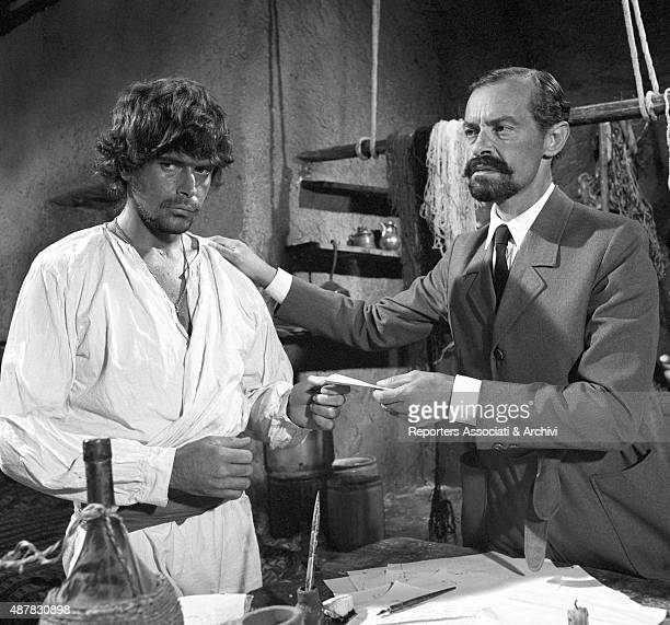 CubanAmerican actor Tomas Milian with unidentified actor in a scene of Tepepa 1968