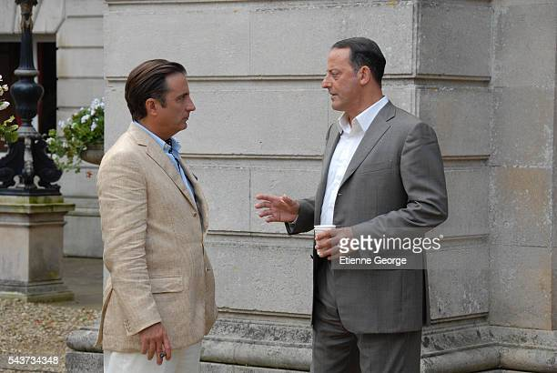 CubanAmerican Andy Garcia and French actor Jean Reno on the set of The Pink Panther 2 directed by Norwegian Harald Zwart