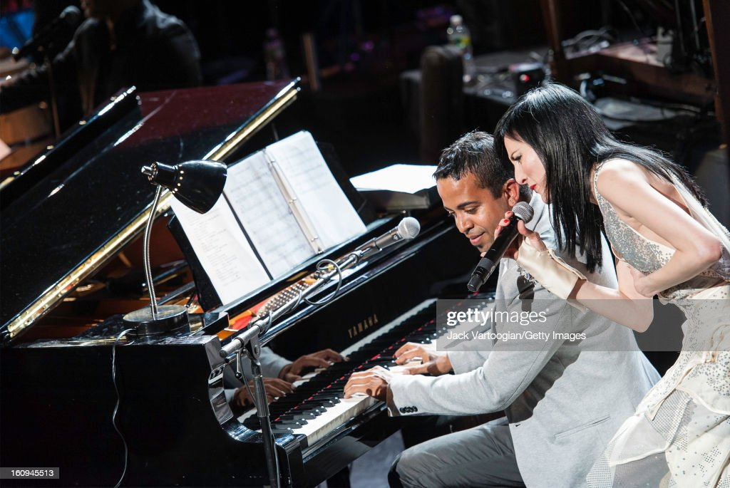 Cuban-American singer Cucu Diamantes performs with pianist Roberto Carlos 'Cucurucho' Rodriguez Valdes at Red Hot + Cuba at the BAM Howard Gilman Opera House, Brooklyn, New York, November 30, 2012. The concert was organized in recognition of World AIDS Day (December 1).
