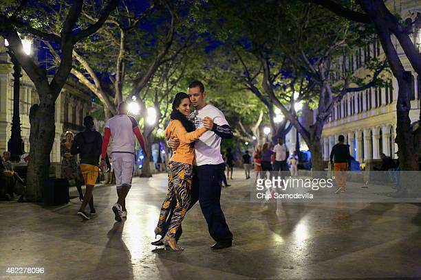 Cubans dance the Tango in the middle of the famous Prado boulevard in Habana Vieja January 25 2015 in Havana Cuba Diplomats from the United States...