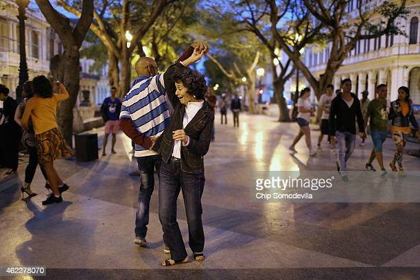 Cubans dance to popular music in the middle of the famous Prado boulevard in Habana Vieja January 25 2015 in Havana Cuba Diplomats from the United...