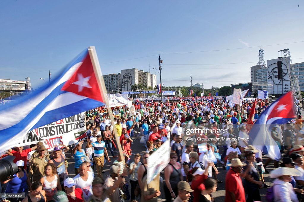 Cubans participate in a march celebrating workers day, at the Plaza de la Revolucion, on May 1, 2016 in Havana, Cuba. Cuba celebrates workers day shortly before the arrival of the first US American cruise ship to arrive in Cuba, on Monday, May 2, 2016.