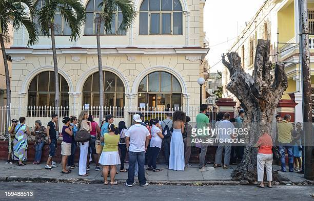 Cubans queue outside a Migrations Office to request new passport on January 14 2013 in Havana A law allowing Cubans to travel abroad without special...