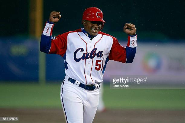 Cuba´s baseball player Yoennis Cespedes Celebrates the victory against Mexico during the World Baseball Classic 2009 on March 12 2009 in Mexico City...