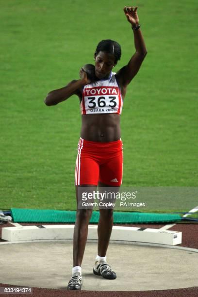 Cuba's Gretchen Quintana in action during the Women's Heptathlon Shot Put