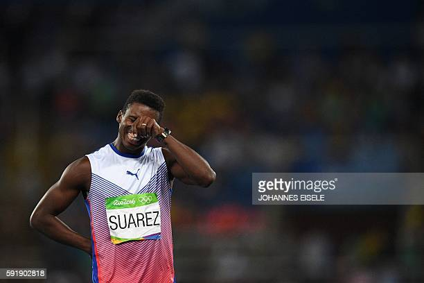Cuba's Leonel Suarez reacts in the Men's Decathlon Javelin Throw during the athletics event at the Rio 2016 Olympic Games at the Olympic Stadium in...