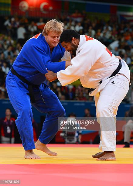 Cuba's Oscar Brayson competes with Estonia's Martin Padar during their men's 100kg judo contest match of the London 2012 Olympic Games on August 3...