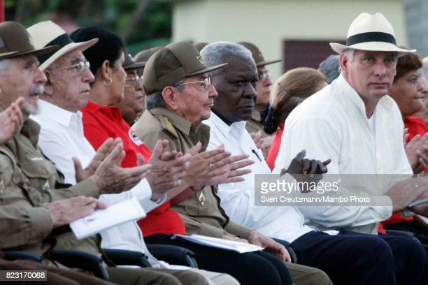 Cubas President Raul Castro presides a political act to commemorate the 64th anniversary of Fidel Castros attack of the Moncada barracks in Pinar del...