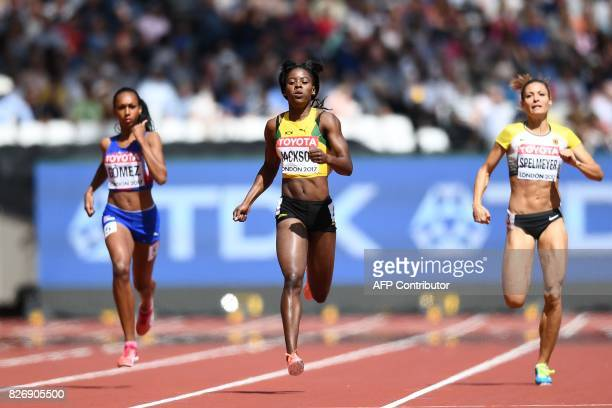 Cuba's Roxana Gómez Jamaica's Shericka Jackson and Germany's Ruth Sophia Spelmeyer compete in the heats of the women's 400m athletics event at the...