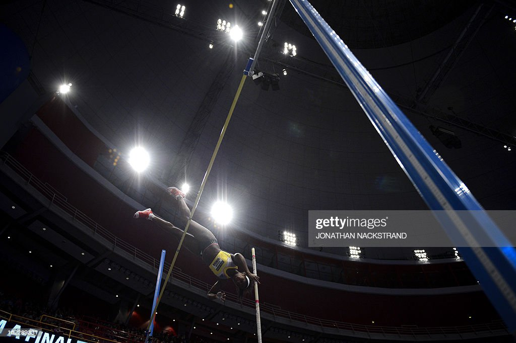 Cuba's Yarisley Silva competes during the women's pole vault event of the XL Galan Stockholm Athletics Indoor meeting on February 21, 2013 at the Ericsson Globe Arena in Stockholm. AFP PHOTO/JONATHAN NACKSTRAND