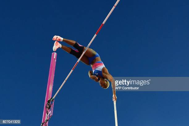 TOPSHOT Cuba's Yarisley Silva competes in the final of the women's pole vault athletics event at the 2017 IAAF World Championships at the London...