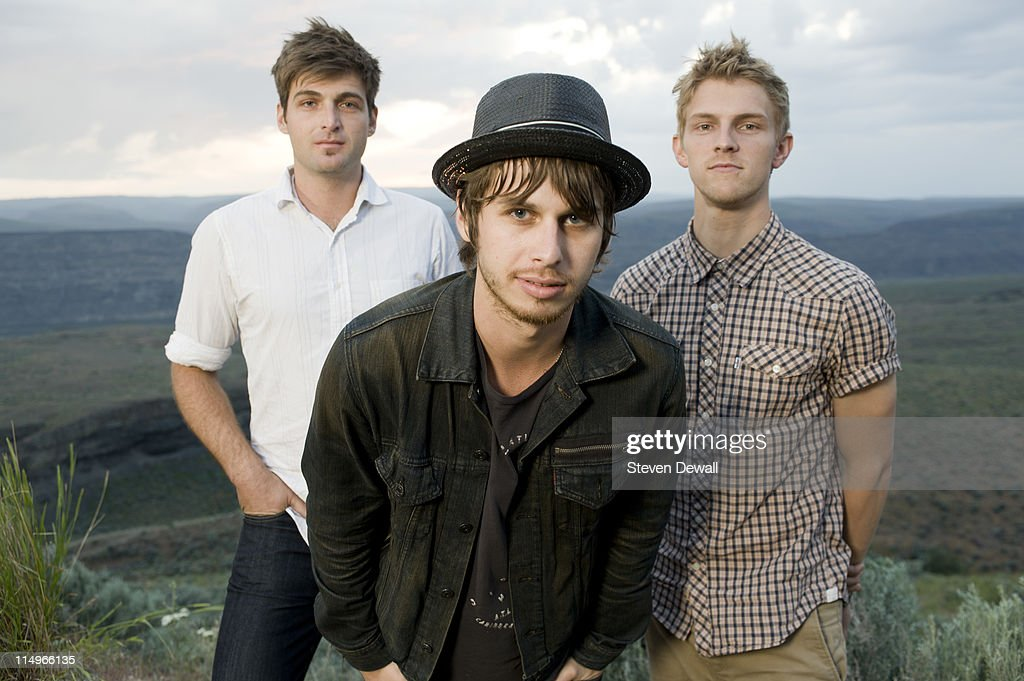 Cubbie Fink Mark Foster and Mark Pontius of Foster the People pose for a portrait backstage at Sasquatch Music Festival at the Gorge Amphitheater on...