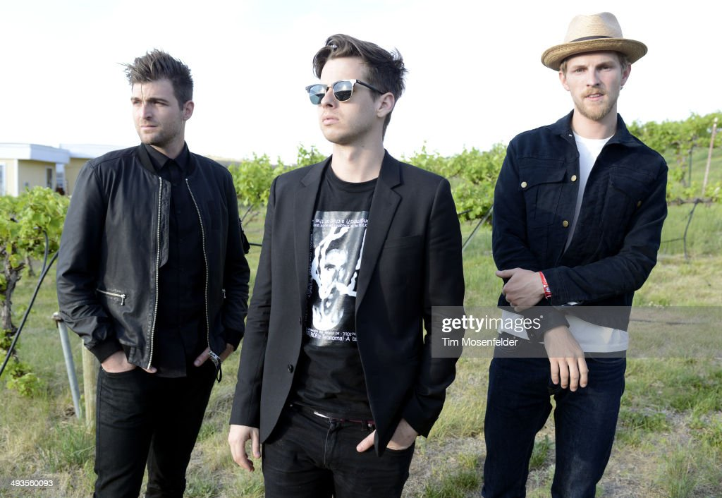 Cubbie Fink Mark Foster and Mark Pontius of Foster the People pose at the Sasquatch Music Festival at the Gorge Amphitheater on May 24 2014 in George...