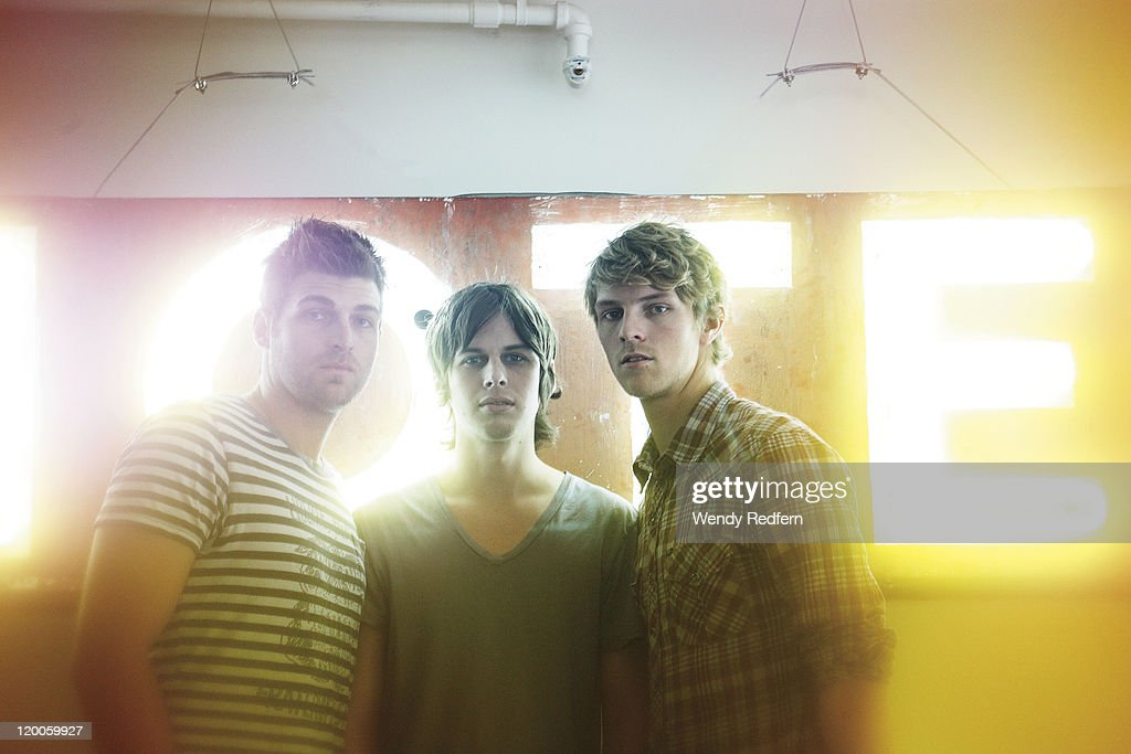 Cubbie Fink Mark Foster Mark Pontius of Foster the People pose for a group portrait on February 10 2011 in Los Angeles California United States