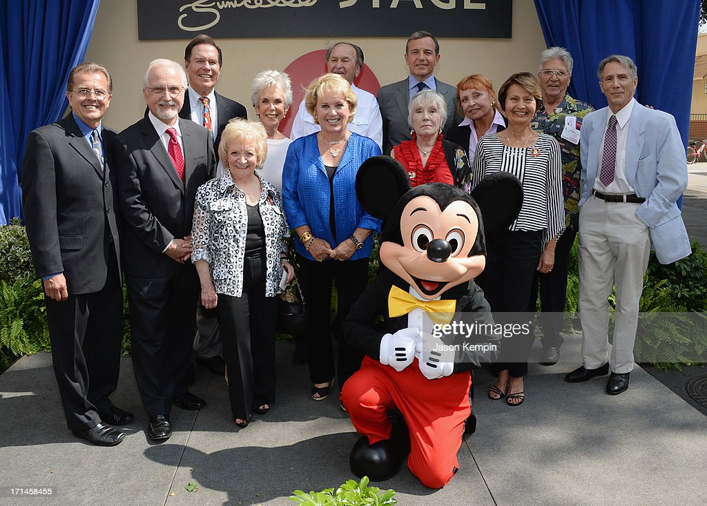Cubby O'Brien, Tommy Cole, Bobby Burgess, Sharon Baird, Darlene Gillespie, Glen Holt, Sherry Alberoni, Bob Iger, Nancy Abbate, Doreen Tracey, Mary Espinosa, Paul Peterson and Johnny Crawford attend a special stage rededication ceremony for Annette Funicello hosted by The Walt Disney Company at Walt Disney Studios on June 24, 2013 in Burbank, California.
