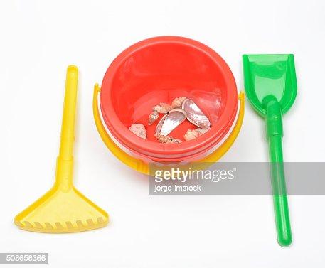 Cube beach rake and shovel. Beach Toys. : Stock Photo