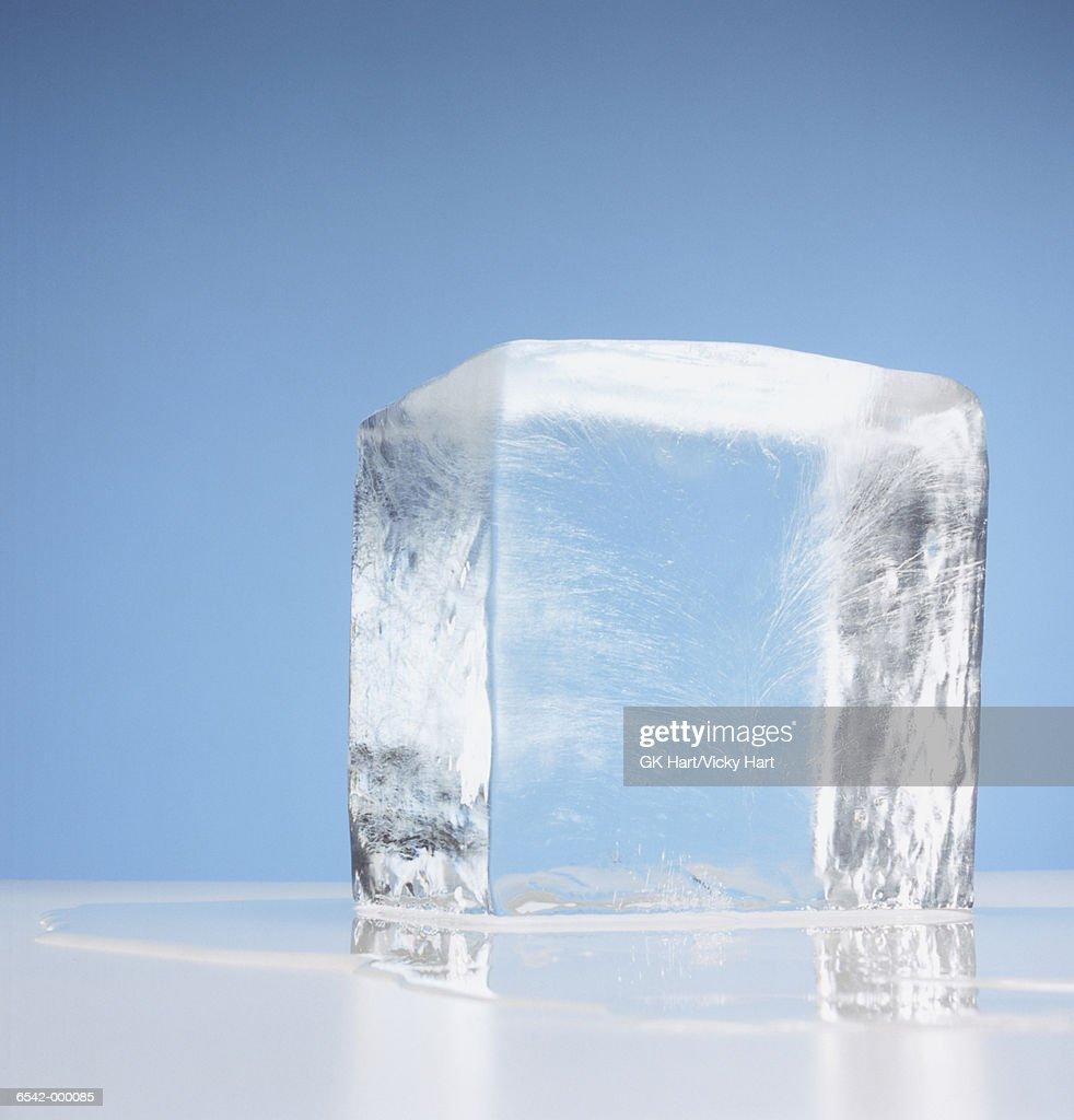 Cube of Melting Ice : Stock Photo