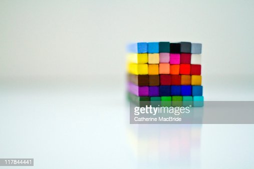 Cube of stacked chalk pastels