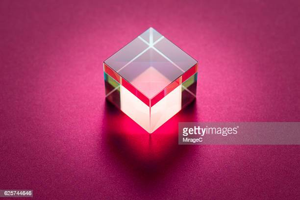 Cube Prism on Pink Background